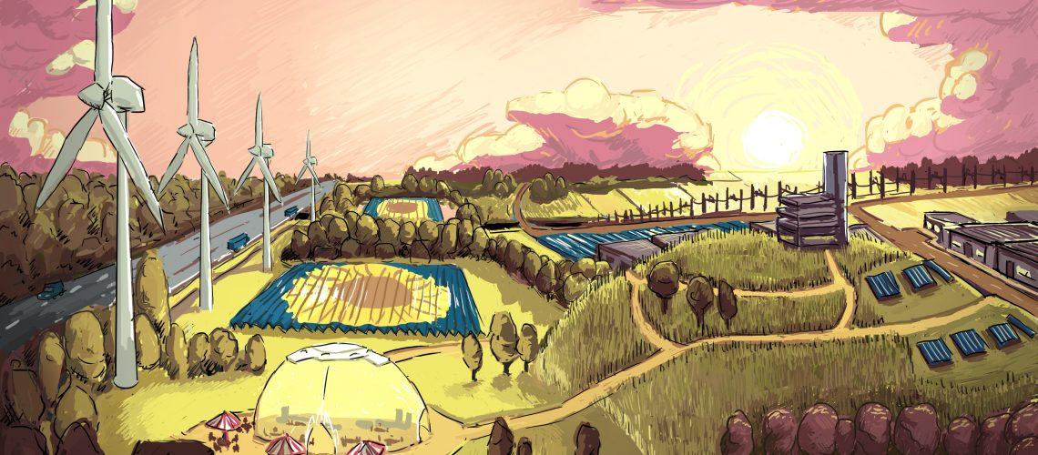 Illustratie van het toekomstige energielandschap op de Grift waar energie uit zon, wind en zelfs warmte gecombineerd kunnen gaan worden.